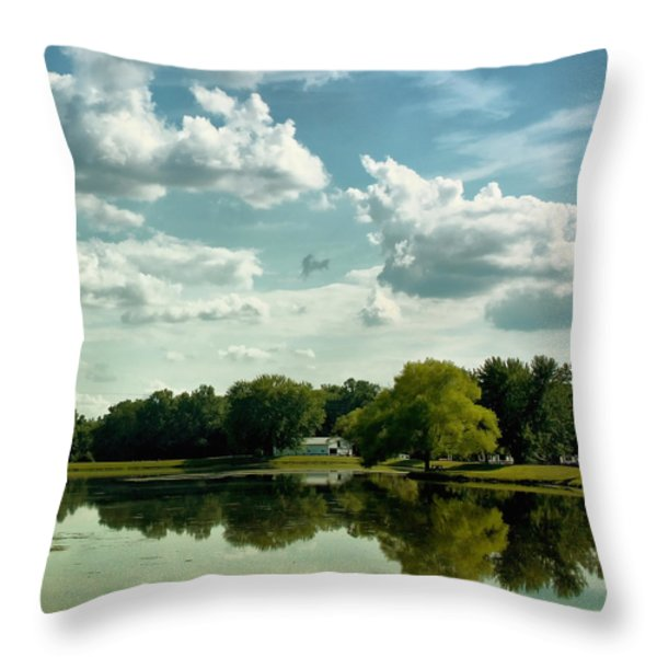 Cloudy Reflections Throw Pillow by Kim Hojnacki