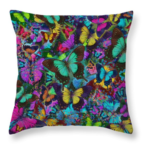Cloured Butterfly Explosion Throw Pillow by Alixandra Mullins