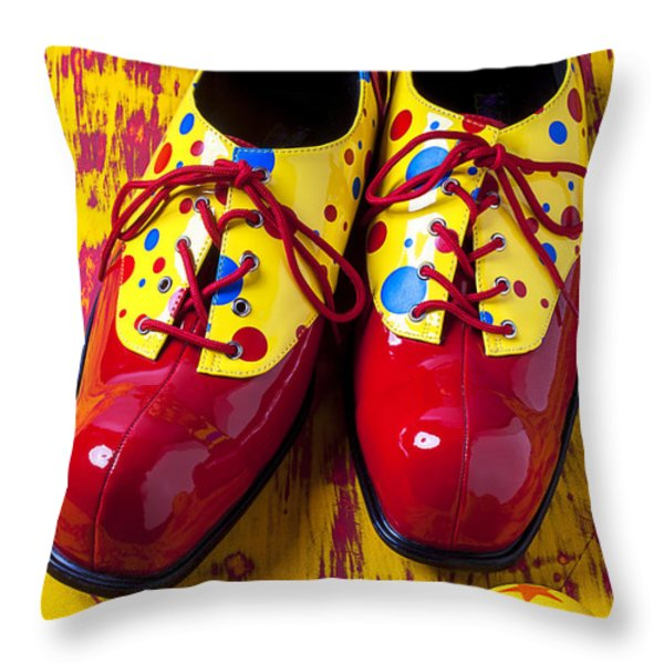 Clown Shoes And Balls Throw Pillow by Garry Gay