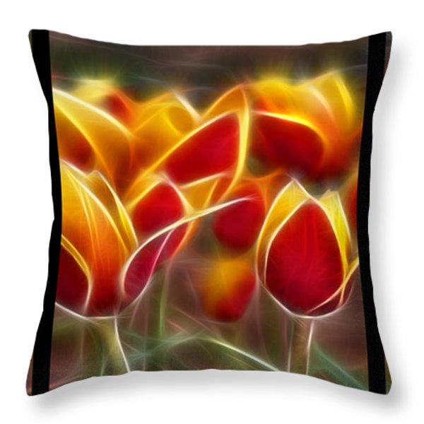 Cluisiana Tulips Triptych  Throw Pillow by Peter Piatt