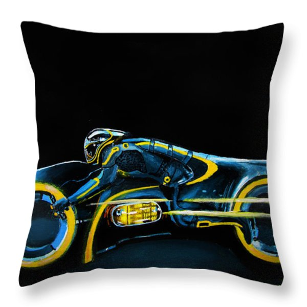 CLU's Lightcycle Throw Pillow by Kayleigh Semeniuk