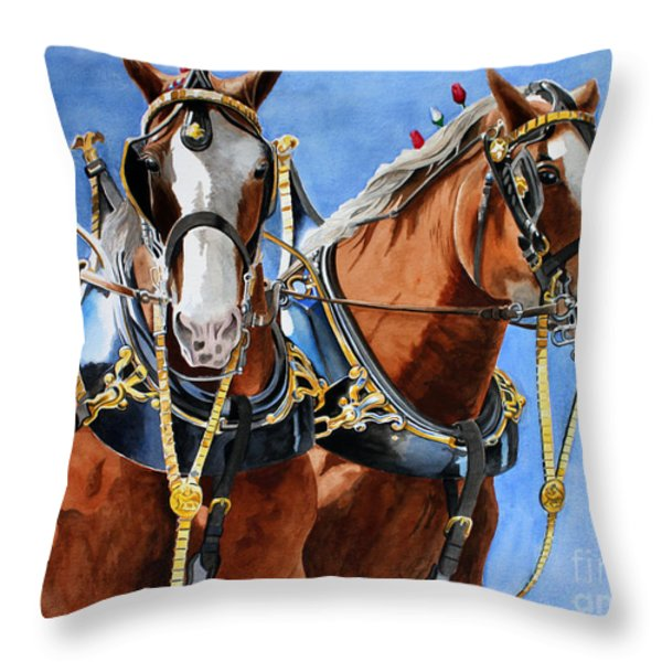 Clydesdale Duo Throw Pillow by Debbie Hart