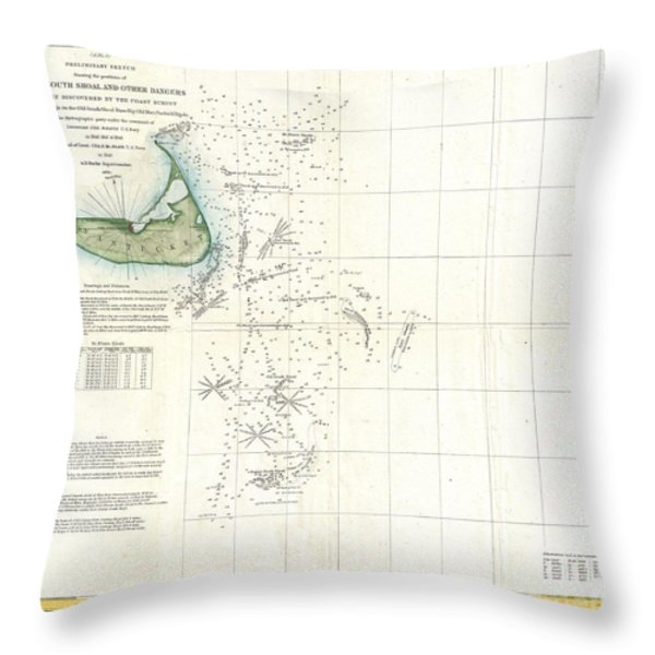 Coast Survey Map of Nantucket and the Davis Shoals Throw Pillow by Paul Fearn