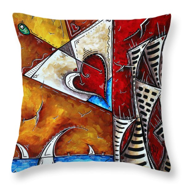 Coastal Martini Cityscape Contemporary Art Original Painting HEART OF A MARTINI by MADART Throw Pillow by Megan Duncanson