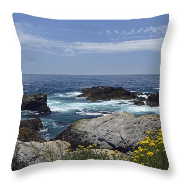 Coastline and Flowers in California's Point Lobos State Natural Reserve Throw Pillow by Bruce Gourley