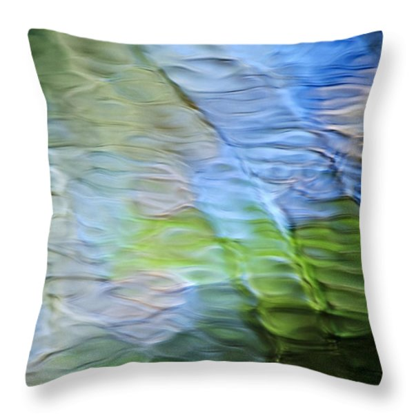 Coastline Mosaic Abstract Art Throw Pillow by Christina Rollo
