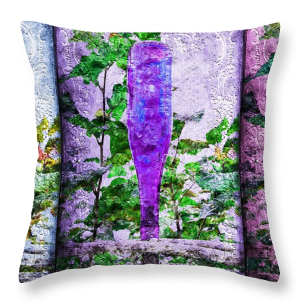Cobalt Blue Purple And Magenta Bottles Collage Throw Pillow by Andee Design