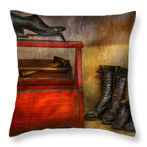 Cobbler - Life of the cobbler Throw Pillow by Mike Savad