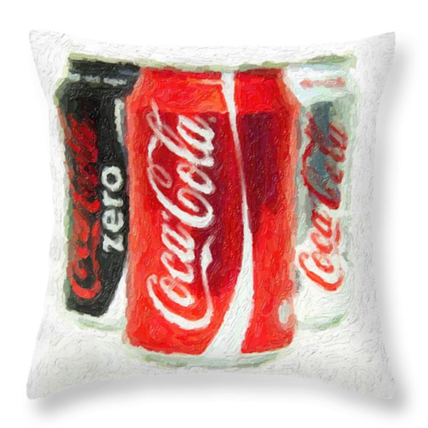 Coca Cola Art Impasto Throw Pillow by Antony McAulay