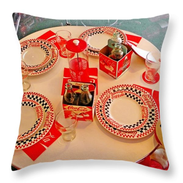 Coca-Cola Diner  Throw Pillow by Chris Berry