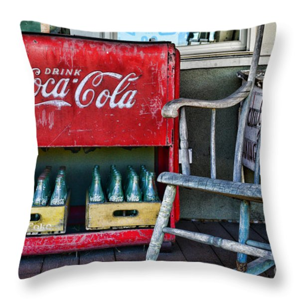 Coca Cola Vintage Cooler And Rocking Chair Throw Pillow by Paul Ward