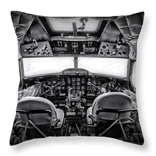 cockpit of a DC3 Dakota Throw Pillow by Paul Fell