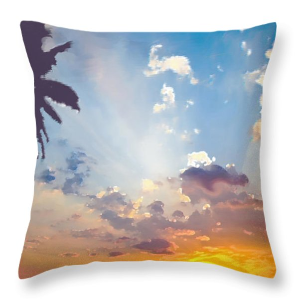 Coconut Trees In The Sunset Throw Pillow by Dominique Amendola