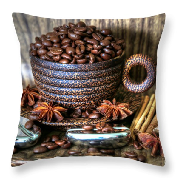 Coffee And Beans Throw Pillow by Tracy  Hall