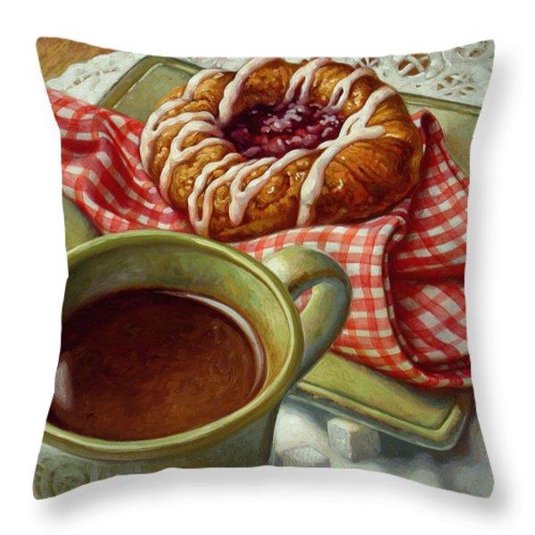 Coffee And Danish Throw Pillow by Mia Tavonatti