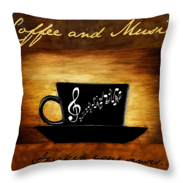 Coffee And Music Throw Pillow by Lourry Legarde