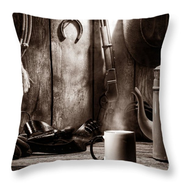 Coffee at the Cabin Throw Pillow by American West Legend By Olivier Le Queinec