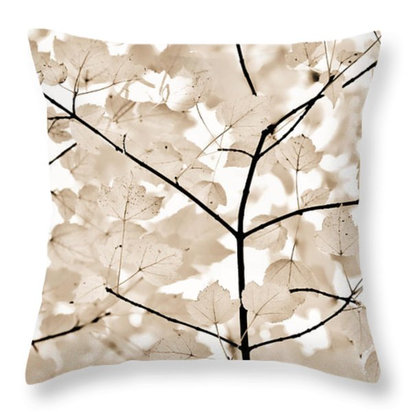 Coffee Brown Leaves Melody Throw Pillow by Jennie Marie Schell
