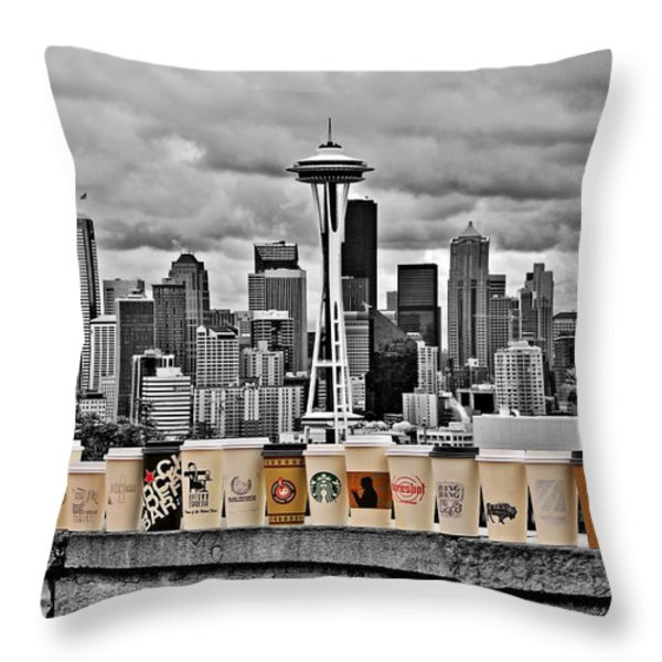 Coffee Capital Throw Pillow by Benjamin Yeager