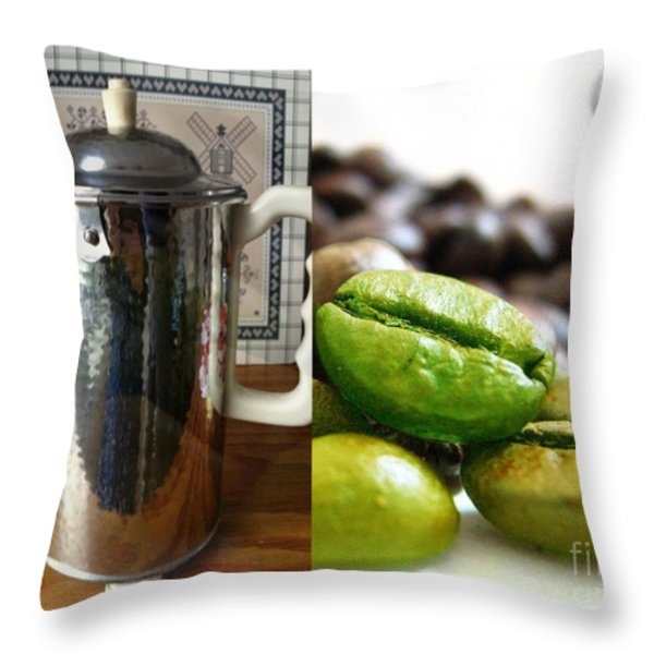 Coffee Coffeee Coffee Throw Pillow by M and L Creations