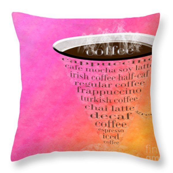 Coffee Cup The Jetsons Sorbet Throw Pillow by Andee Design