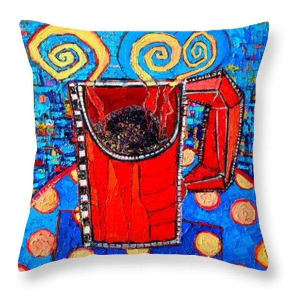 Coffee Cups Triptych Throw Pillow by Ana Maria Edulescu