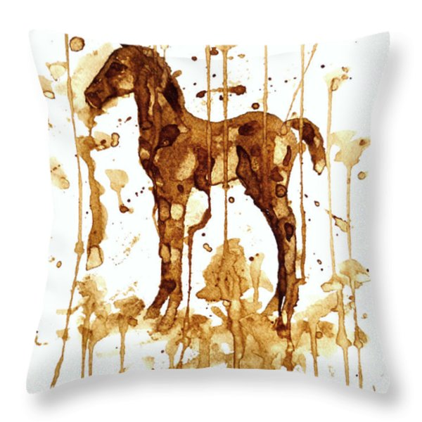 Coffee Foal Throw Pillow by Zaira Dzhaubaeva