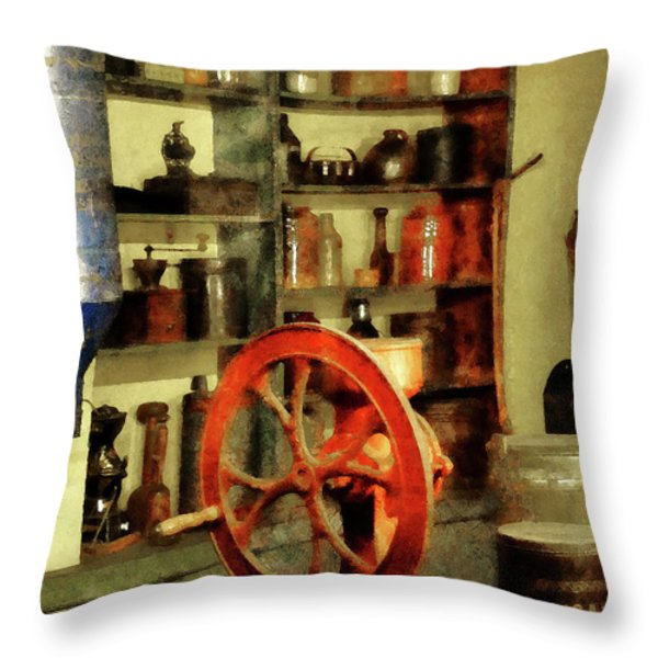 Coffee Grinder And Canister Of Sugar Throw Pillow by Susan Savad