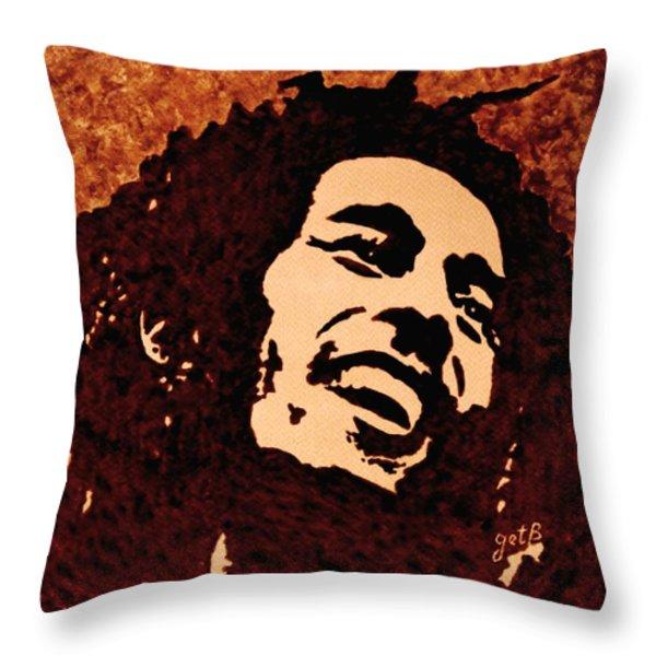 Coffee Painting Bob Marley Throw Pillow by Georgeta  Blanaru