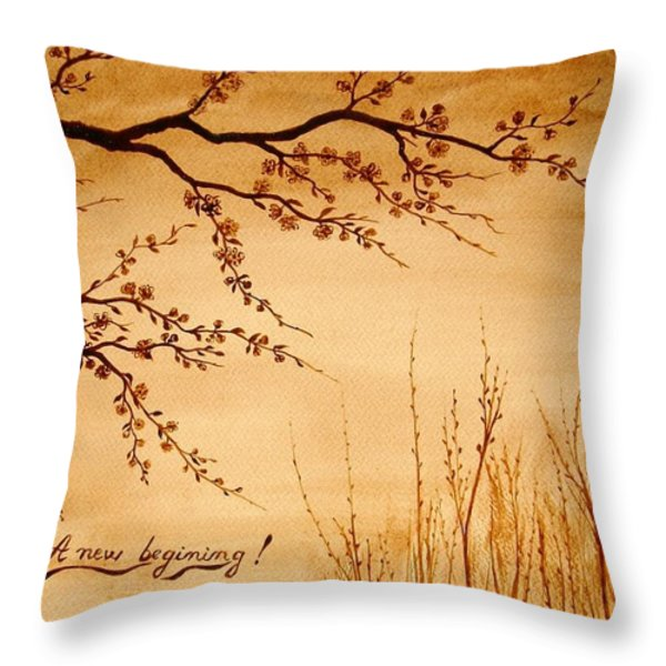 Coffee Painting Cherry Blossoms Throw Pillow by Georgeta  Blanaru