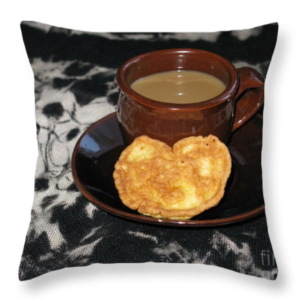 Coffee Served With Love Throw Pillow by Ausra Paulauskaite