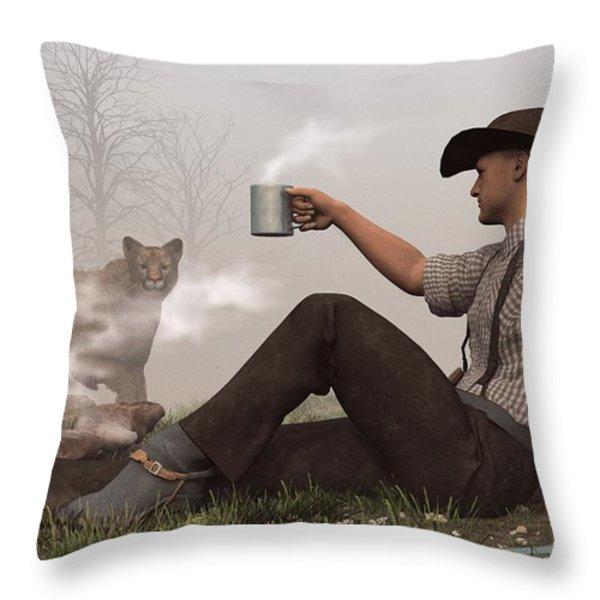 Coffee With A Cougar Throw Pillow by Daniel Eskridge