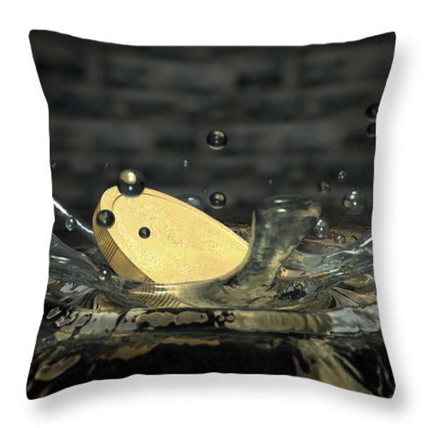Coin Hitting Water Splash Throw Pillow by Allan Swart