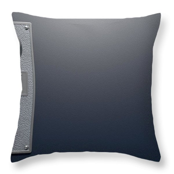 Coin Slot On Blue Background Throw Pillow by Allan Swart