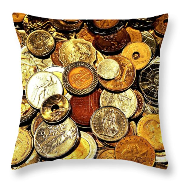 Coinage Throw Pillow by Benjamin Yeager