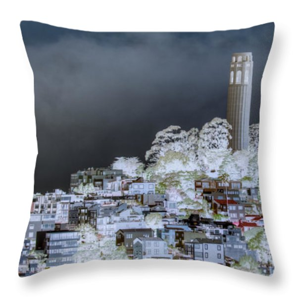 Coit Tower Surreal Throw Pillow by Agrofilms Photography
