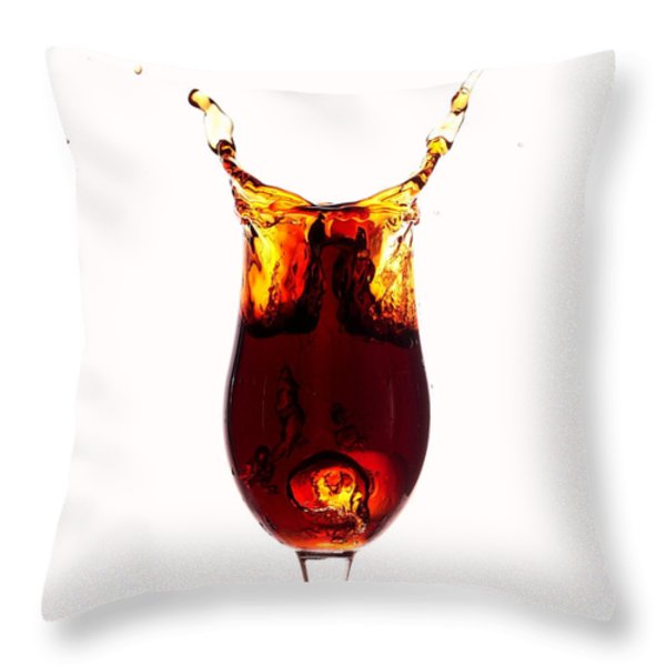 Coke splashing in the cup liquid art Throw Pillow by Paul Ge