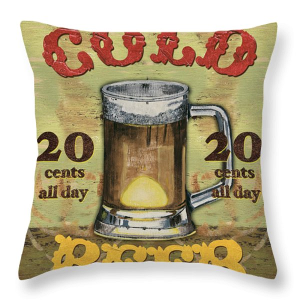 Cold Beer Throw Pillow by Debbie DeWitt