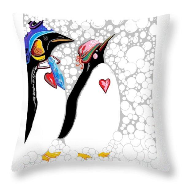 Cold Feet Warm Hearts Throw Pillow by Eloise Schneider