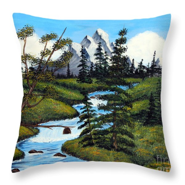 Cold Rattling Brook  Throw Pillow by Barbara Griffin