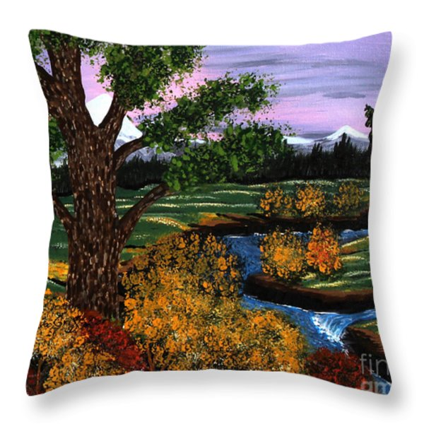 Coldest Mountain Brook Throw Pillow by Barbara Griffin
