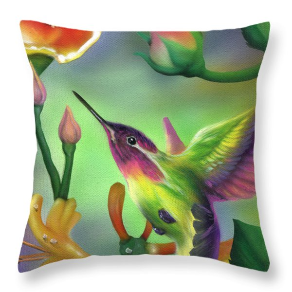 Colibri Throw Pillow by Luis  Navarro