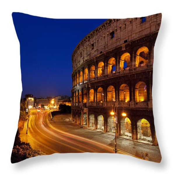 Coliseum At Twilight Throw Pillow by Brian Jannsen
