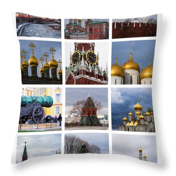 Collage Moscow Kremlin 1 - Featured 3 Throw Pillow by Alexander Senin