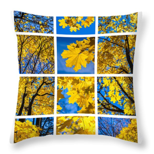 Collage October Blues Throw Pillow by Alexander Senin