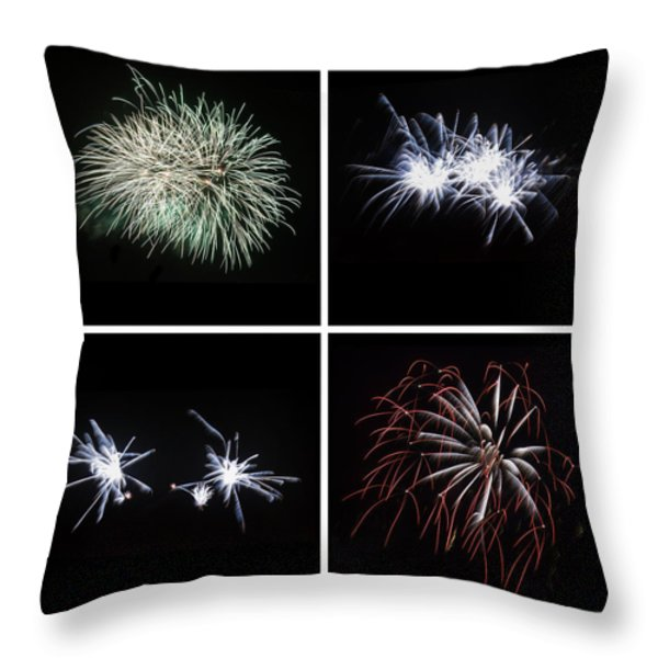 Collection of bright colorful firework burst explosions on black Throw Pillow by Matthew Gibson
