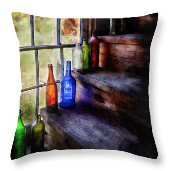 Collector - Bottle - A collection of bottles Throw Pillow by Mike Savad