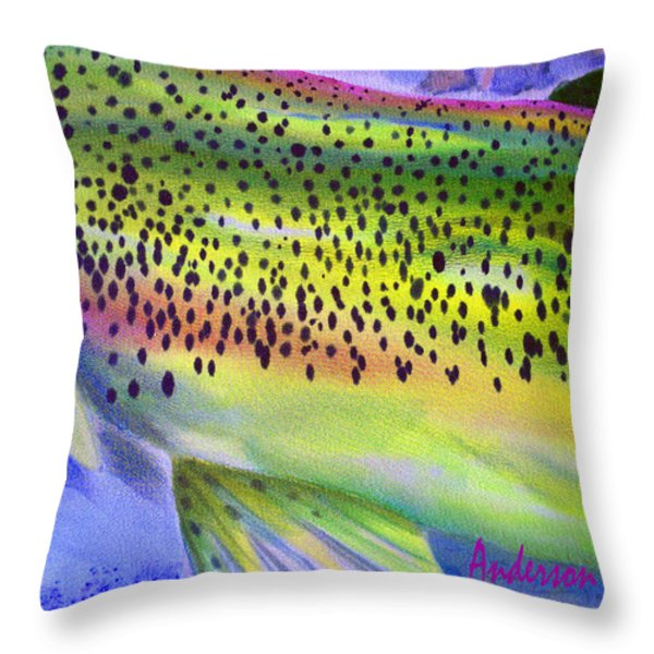 Color Me Trout Throw Pillow by Anderson R Moore