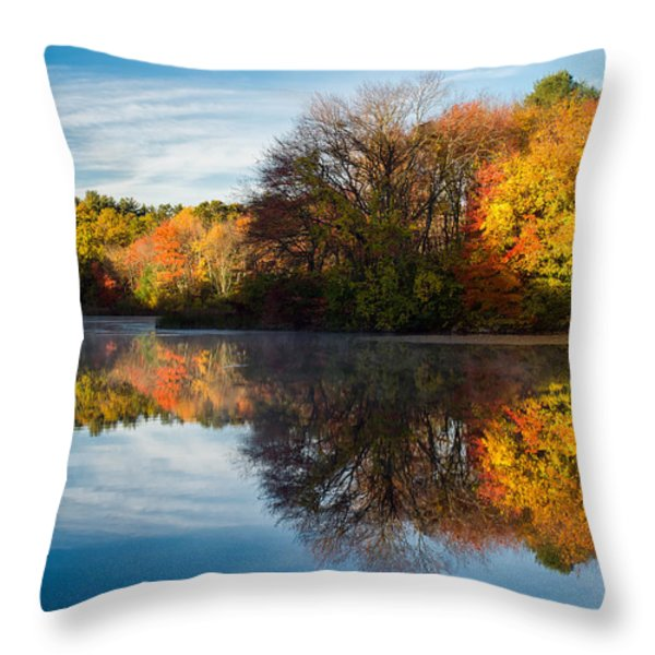 Color on Grist Mill Pond Throw Pillow by Michael Blanchette