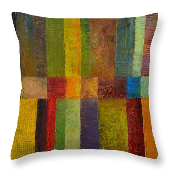 Color Panel Abstract ll Throw Pillow by Michelle Calkins